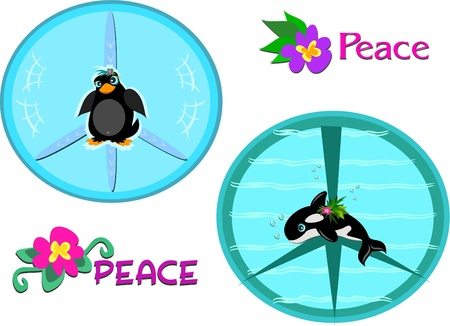 Mix of Peace Signs and Animals Vector