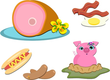 Mix of Pork Items Stock Illustratie