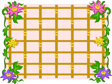 Grid Frame with Flowers Иллюстрация