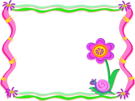 crawling animal: Whimsical Frame with Snail and Flower Illustration