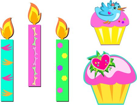 lit candles: Mix of Cupcakes and Candles
