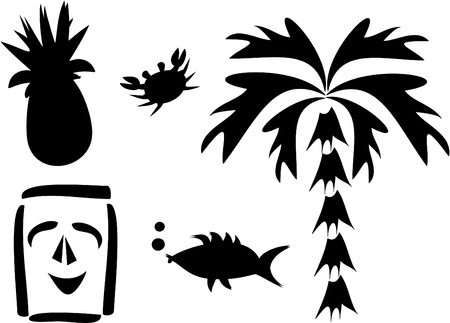 Mix of Tropical Silhouettes Vector