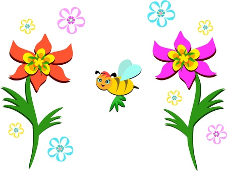 Flowers and Flying Bee