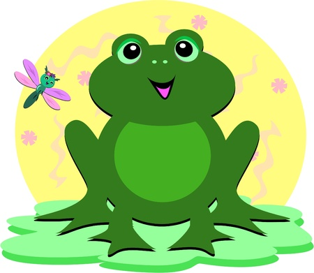 Green Frog and Dragonfly Vector