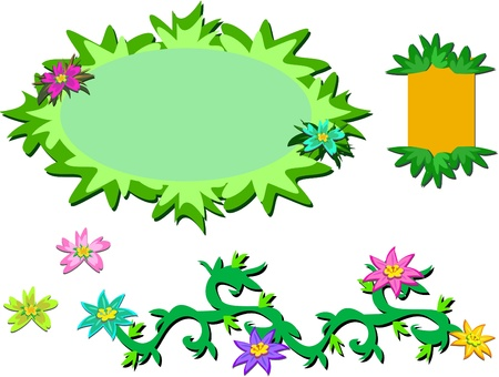 Mix of Tropical Plants and Frames Vector