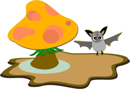 Forest Mushroom and cute Bat