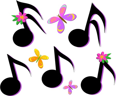 Musical Notes, Butterflies, and Flowers