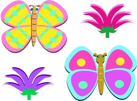 디자이너 나비와 꽃의 혼합