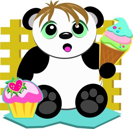 お菓子を愛するかわいいパンダ