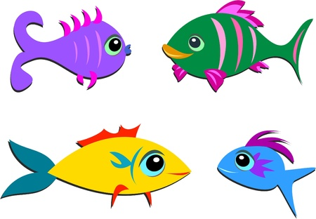 Mix of Different Shaped Fish Vector