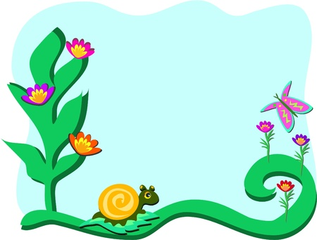 Frame with Garden with Snail and Butterfly Vector
