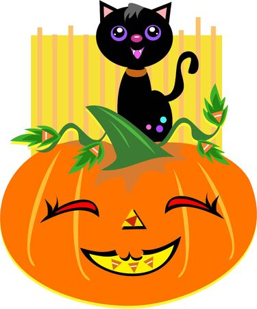 Halloween Cat with Happy Pumpkin Stock Vector - 11377362