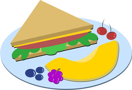Healthy Meal of Sandwich and Fruits