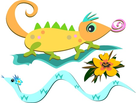 slither: Mix of Reptiles and a Flower Illustration