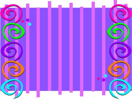 Frame with Spirals and Stripes Иллюстрация