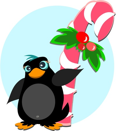 Penguin with Peppermint Sugar Cane Vector