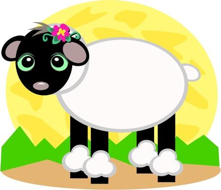 sheep eye: Black Sheep with White Wool Illustration