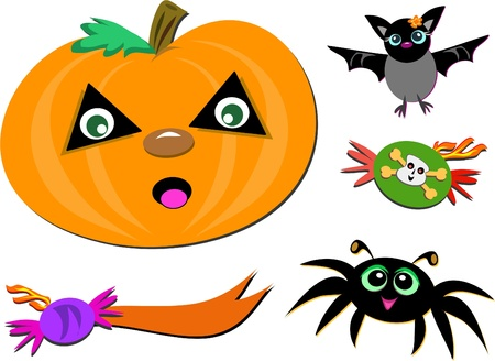 Mix of Halloween Images Vector