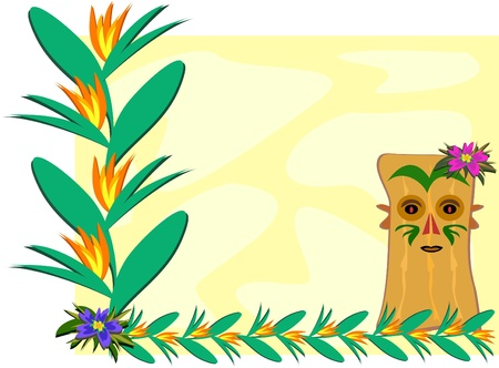 Frame with Tropical Plants and Tiki Vector