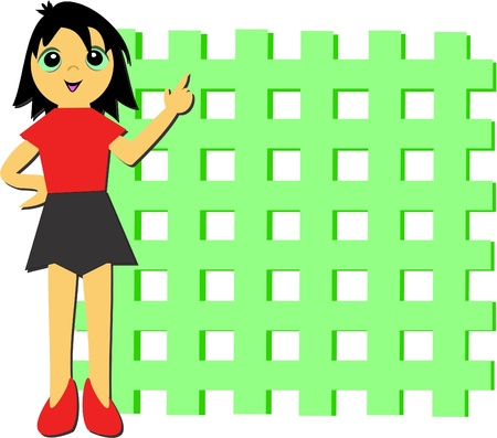 grid: Girl with Grid Wall Illustration
