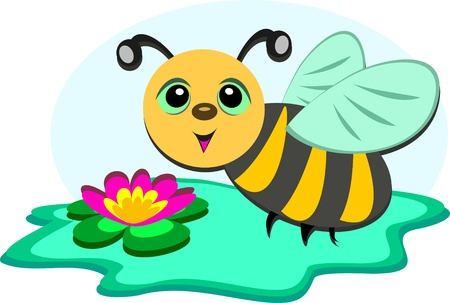 Bee at a Lily Pond Illustration