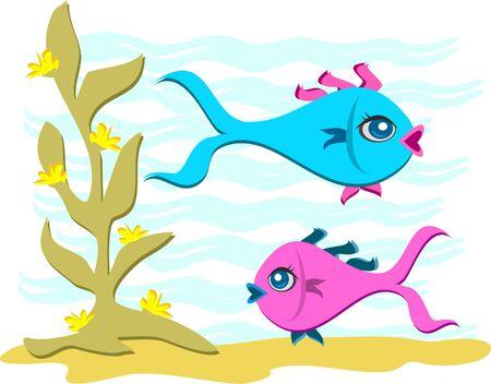 Swimming Fish in the Sea Stock Vector - 11377443