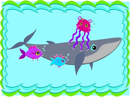 Whale with Jellyfish and Fish Vector