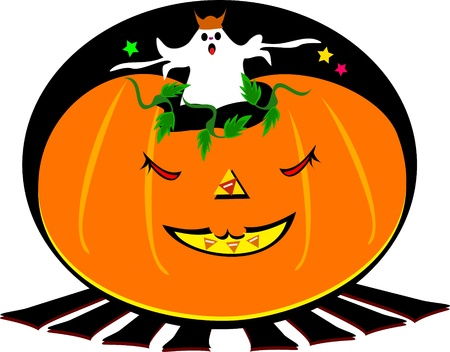 Halloween Ghost in a Pumpkin Vector