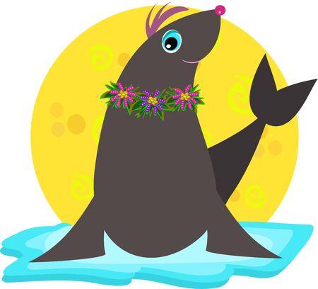 berg: Cute Seal Floating on Ice