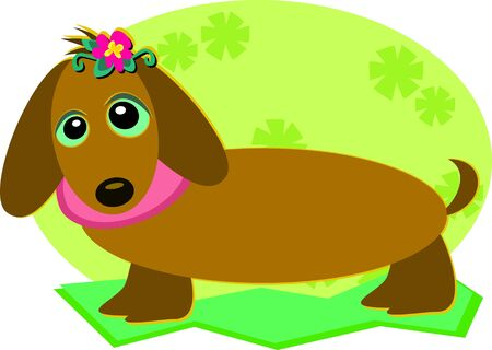Dachshund Dog with a Flower Vector