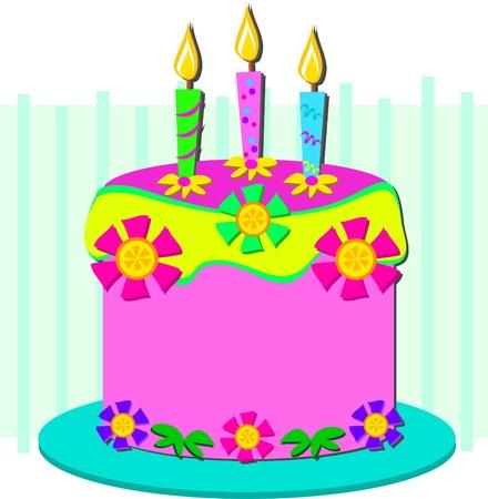 plate of food: Happy Birthday Cake Illustration