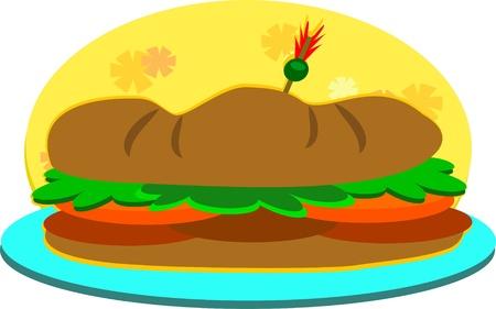 Submarine Sandwich on a Plate Illustration