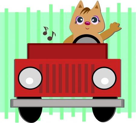 차에 고양이 일러스트