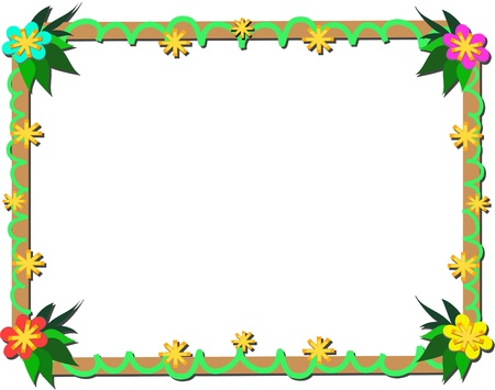 Frame of Tropical Plants and Wood