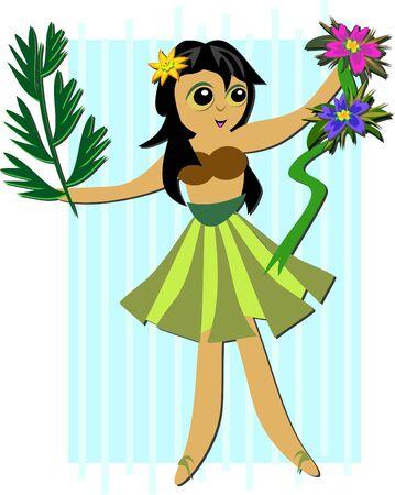 Hula Girl with Plants Vector