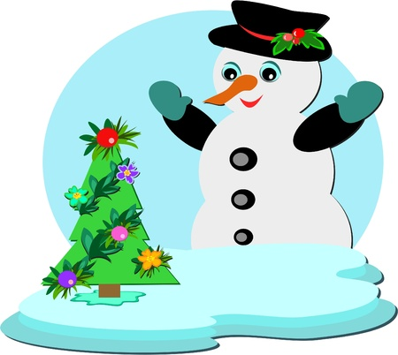 Snowman with a Tropical Christmas Tree Vector