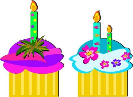 Two Birthday Cupcakes Illusztráció