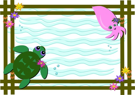Frame of Sea Turtle and Baby Squid Vector