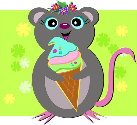 Mouse Loves Sweets Vector