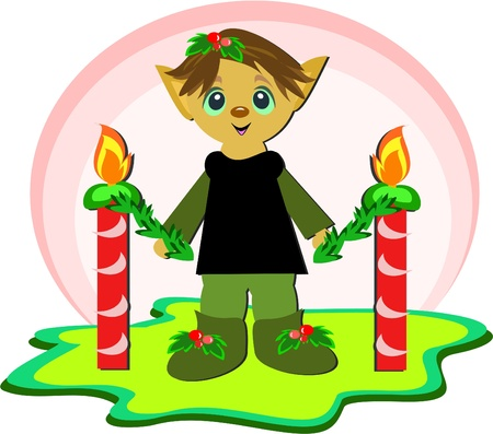 Christmas Elf with Candles Vector