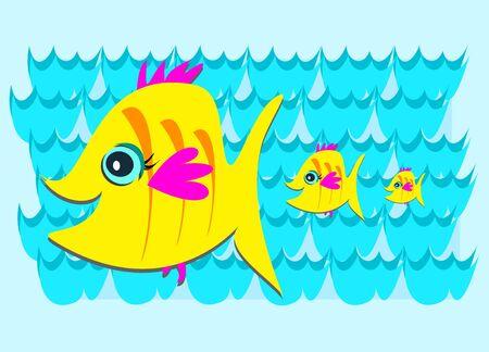 Three Yellow Fish in the Sea Stock Vector - 11494914