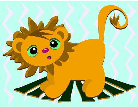 Baby Lion on a Wooden Platform Stock Vector - 11494908