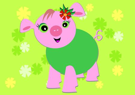 Happy Pig Surrounded by Flowers Vector