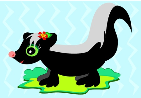 Cute Skunk with Flower Vector