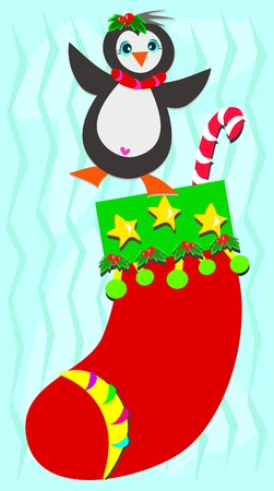 cane collars: Christmas Stocking with Happy Penguin