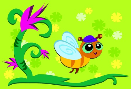 Bee Flying Through Plant Land Vector