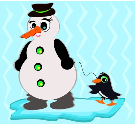 Snowman with Pet Penguin Stock Vector - 11671488