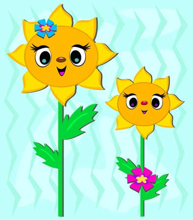 Two Cute Sunflowers Çizim