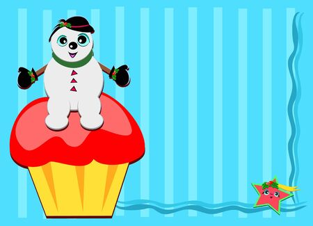 Frame of Snowman on a Cupcake