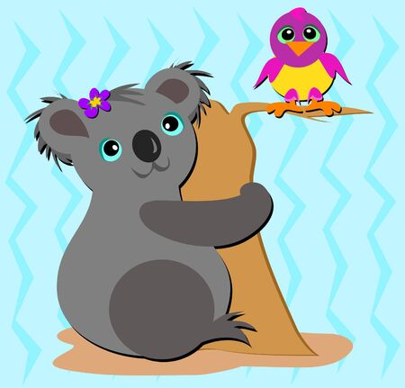 Koala Bear and Friendly Bird